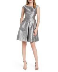 Anne Klein Satin Jacquard Fit Flare Dress