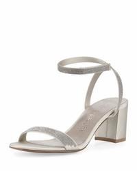 Silver Satin Heeled Sandals