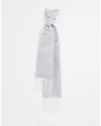 Twisted Tailor Dress Scarf In Silver With Fringing