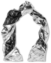 Metallic silk blend jacquard scarf silver medium 5083923