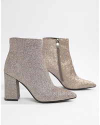 Public Desire Empire Glitter Heeled Ankle Boots Glitter