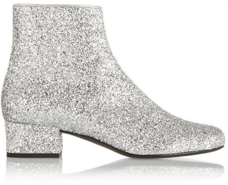 c28712ebe76 Saint Laurent Glitter Finished Ankle Boots, $1,145 | NET-A-PORTER ...