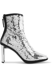 Luce suede trimmed sequined tulle ankle boots silver medium 6465629
