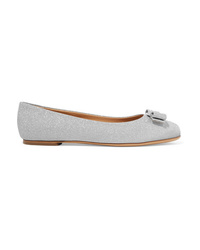 Salvatore Ferragamo Varina Bow Detailed Glittered Leather Ballet Flats