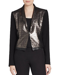 Elie Tahari Waverly Leather Trimmed Sequined Front Blazer