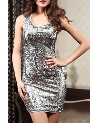 Adore Clothes More Silver Sequin Dress