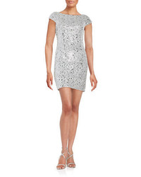 Adrianna Papell Sequined Lace Cap Sleeve Sheath Dress