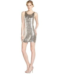 Wyatt Silver And Nude Silk Chiffon Sequined Party Dress