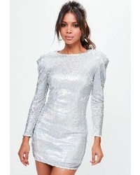 Missguided Silver Sequin Bodycon Dress