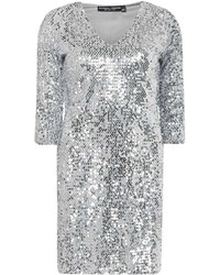 Dorothy Perkins Silver Velvet Sequin Bodycon Dress