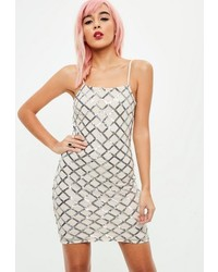 Missguided White Sequin Bodycon Cami Dress