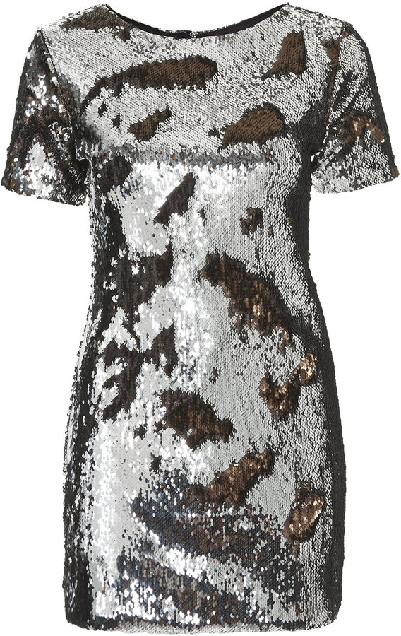 236af1d58468 ... Casual Dresses Topshop Petite Short Sleeve Bodycon Dress In All Over  Brushed Bronze And Silver Sequins 97%