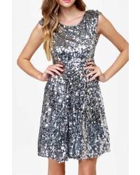 Silver news flash dress medium 359746