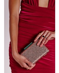 Missguided Glitter Clutch Pink