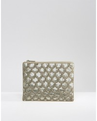 Boohoo Silver Sequin Clutch Bag
