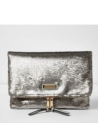 River Island Silver Sequin Fold Over Clutch Bag