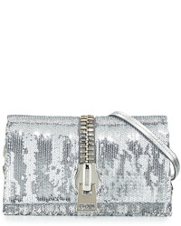Tom Ford Small Zip Front Sequin Karung Crossbody Clutch Bag Silver