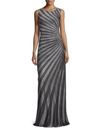 St. John Collection Sunburst Sequined Knit Gown Gunmetal