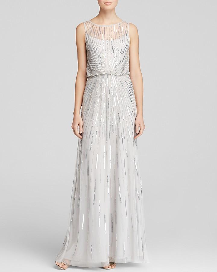 Aidan Mattox Gown Sleeveless Sunburst Beaded Blouson | Where to buy ...