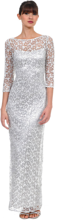 57aaac9611d ... Kay Unger New York Long Beaded Lace Sheath Gown In Silver ...