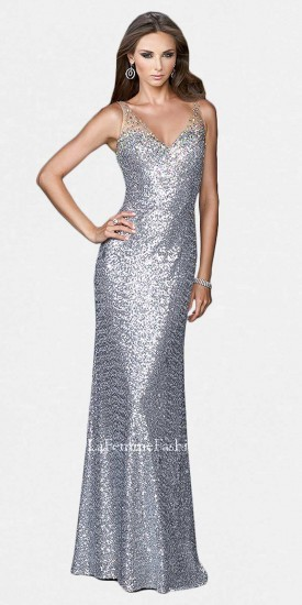 La Femme Metallic Sheer Strap Sequin Prom Dress | Where to buy & how ...