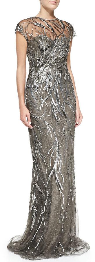 Rene ruiz cap sleeve patterned sequined gown where to buy how to evening dresses rene ruiz cap sleeve patterned sequined gown junglespirit Images