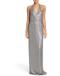 Sigourney sequin halter mesh gown medium 801881