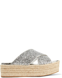 Silver Sequin Flat Sandals