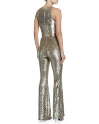 Michael Kors Michl Kors Collection Sequined Mesh Bell Bottom Jumpsuit Gold