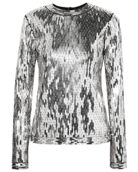 Off-White Sequined Mesh Top