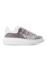 Alexander McQueen Silver And Purple Glitter Oversized Sneakers