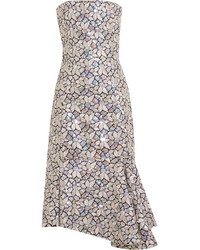 Embellished embroidered cotton canvas dress silver medium 976527