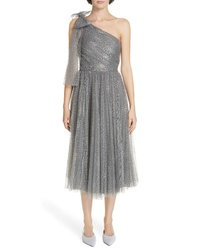 RED Valentino Metallic One Shoulder A Line Dress