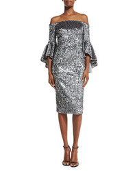 Milly Off The Shoulder Sequined Cocktail Dress Gunmetal