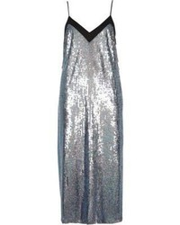 River Island Pink And Blue Sequin Midi Slip Dress