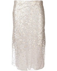 Silver Sequin Midi Skirt
