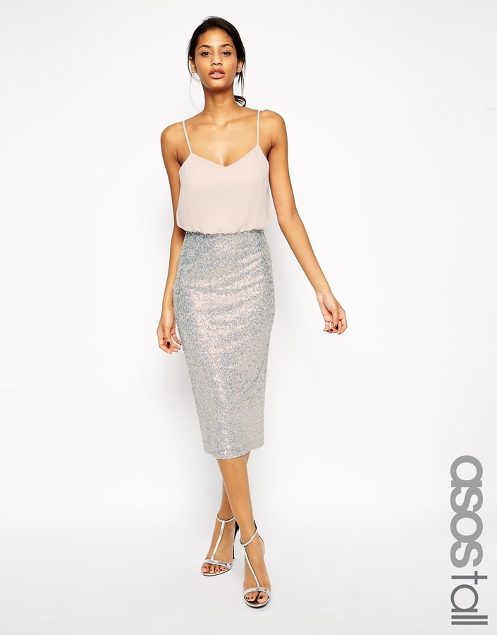 Asos Tall Sequin Skirt Midi Cami Dress | Where to buy & how to wear