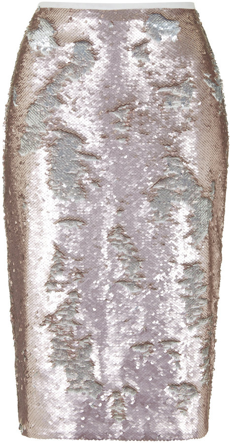 Topshop Pink Sequin Pencil Skirt With Silver Reverse Sequins Cut ...