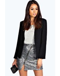 Boohoo Becca Sequin Asymmetric Zip Detail Mini Skirt