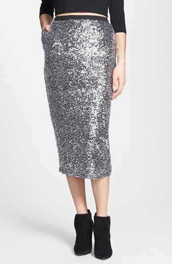 Leith Sequin Midi Skirt Silver X Small | Where to buy & how to wear