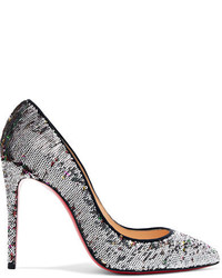 Pigalle follies 100 sequined canvas pumps silver medium 6571452