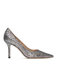 Jimmy Choo Silver Glitter Love 85 Heels