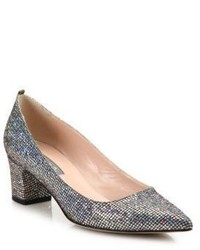 Sjp by katrina sequined point toe block heel pumps medium 789187