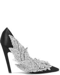 Balenciaga Talon Slash Sequin Embellished Satin Pumps Black