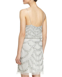 Aidan Mattox Beaded Cocktail Dress Silver