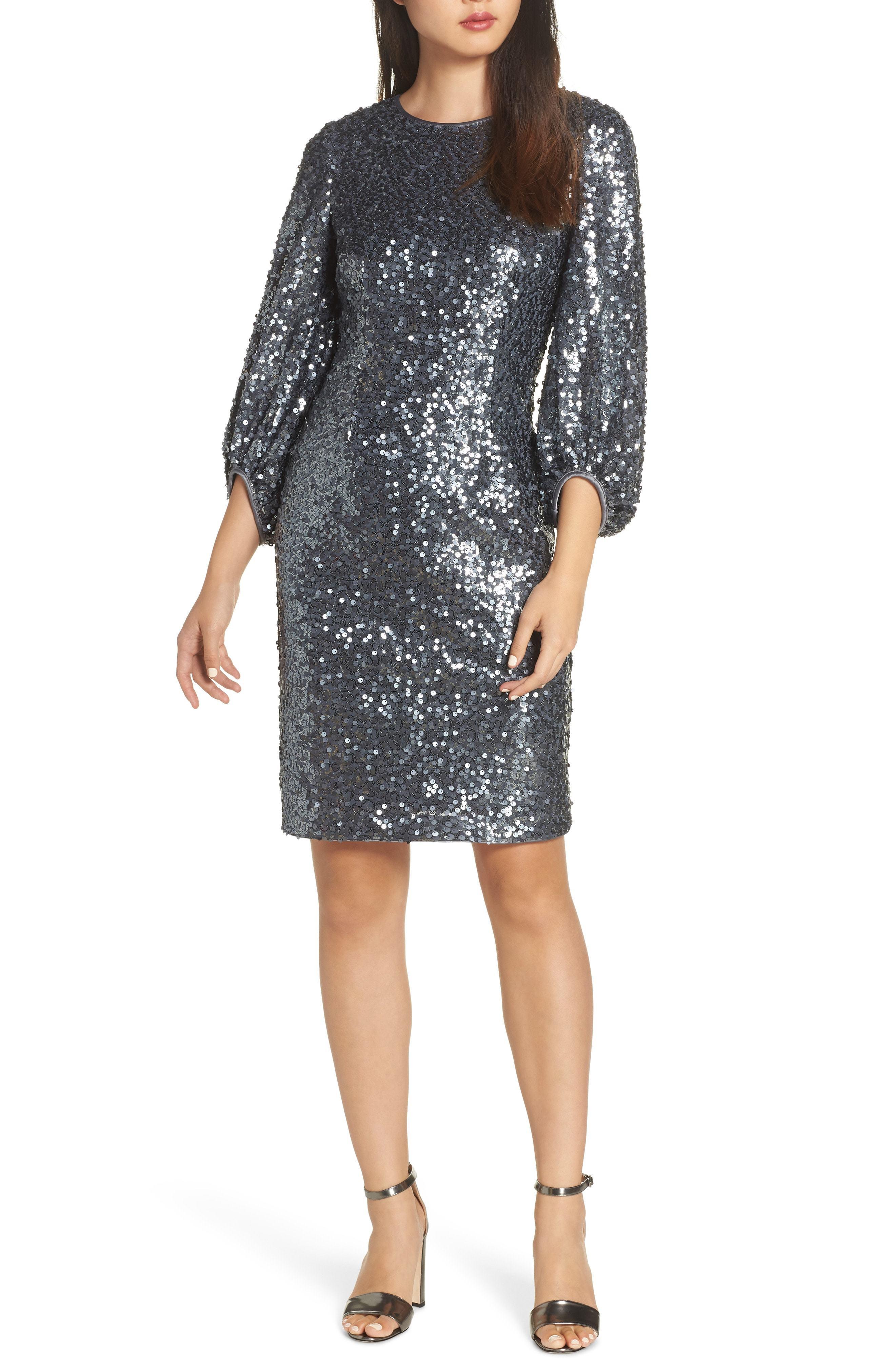 Eliza J Blouson Sleeve Sequin Sheath Dress