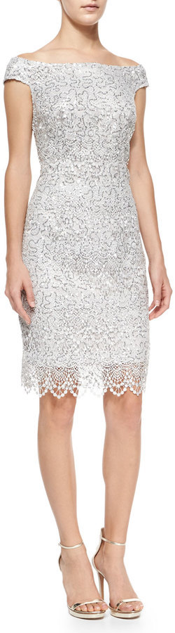 Kay Unger New York Cap Sleeve Sequined Lace Sheath Cocktail Dress