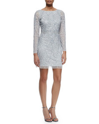 Aidan Mattox Embellished Long Sleeve Boatneck Cocktail Dress Silver