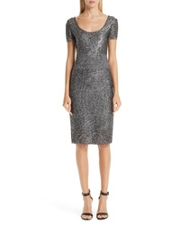 St. John Collection Metallic Plaited Mixed Knit Dress