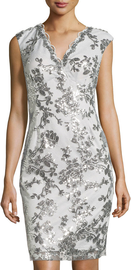 a47565e618ab Marina Swan Queen Sequined Sheath Dress Silver, $139 | Last Call by Neiman  Marcus | Lookastic.com